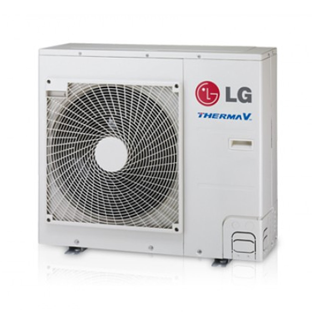 Image of an air source heat pump on a white background.
