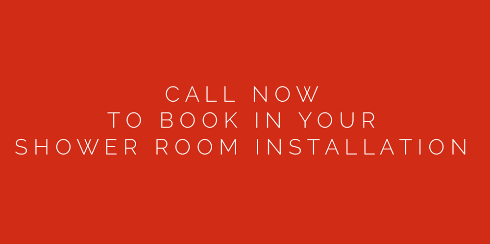 Red image with white writing saying Call now to book in your shower installation