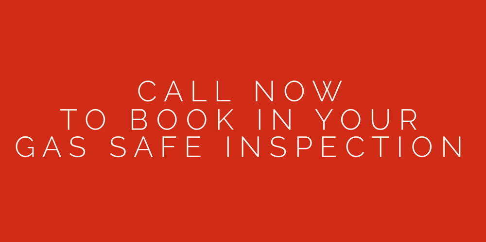 Large red box with writing inside that says, call now to book in your gas safe inspection.