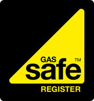 Gas safe engineers Arco in Brentwood. A black square with a yellow triangle to the right hand bottom corner. Written inside the triangle are the words Gas Safe Register.